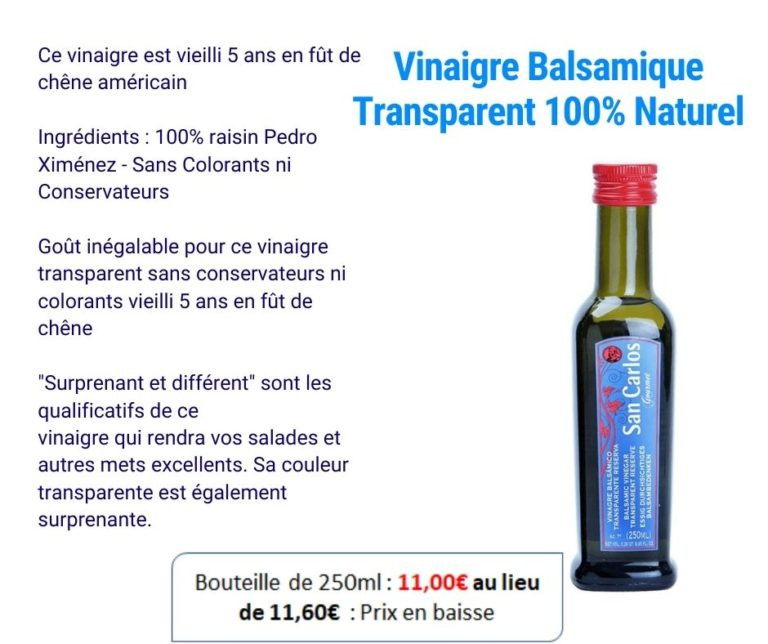 Spania Delice - Vinaigre Balsamique San Carlos transparent
